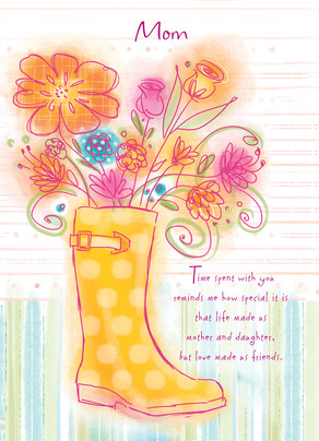 Rain Boot Flowers 5x7 Folded Card