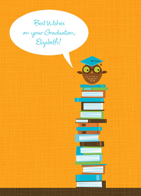 Stacked Books Owl 5x7 Folded Card