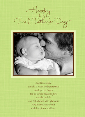 Green First Fathers Day 5x7 Folded Card