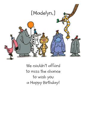 Jungle Friends Birthday 5x7 Folded Card
