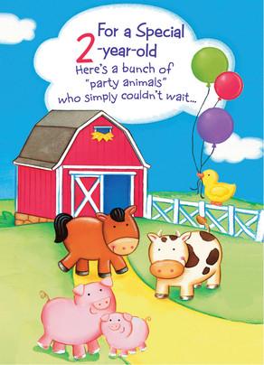 Farm Party Animals 5x7 Folded Card