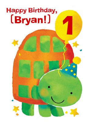 Turtle First Birthday 5x7 Folded Card