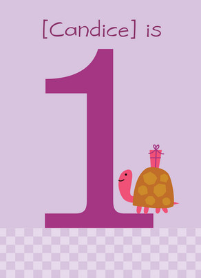 Purple Turtle Birthday 5x7 Folded Card