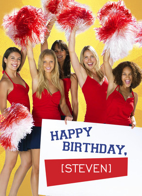 Cheerleaders Birthday 5x7 Folded Card