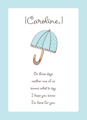 Light Blue Umbrella 5x7 Folded Card