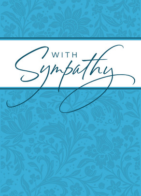 Blue Design With Sympathy 5x7 Folded Card