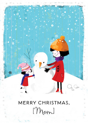 Mom and Daughter Snowman 5x7 Folded Card
