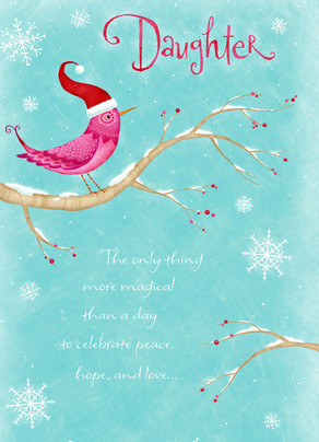 Pink Christmas Bird 5x7 Folded Card
