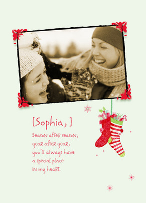 Sister Holiday Stockings 5x7 Folded Card