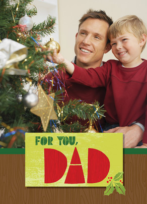 Wood Grain Christmas Dad 5x7 Folded Card
