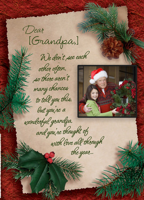 Holiday Letter for Grandpa 5x7 Folded Card