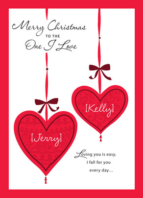 Christmas Love Ornaments 5x7 Folded Card