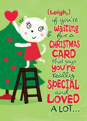 Cat Christmas Tree 5x7 Folded Card