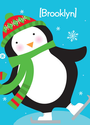Ice Skating Penguin 5x7 Folded Card