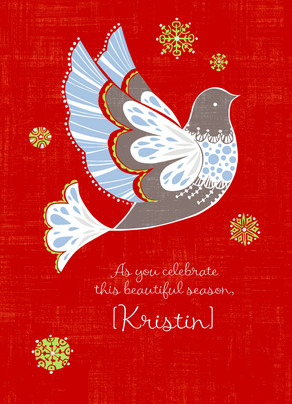 Holiday Red Dove 5x7 Folded Card