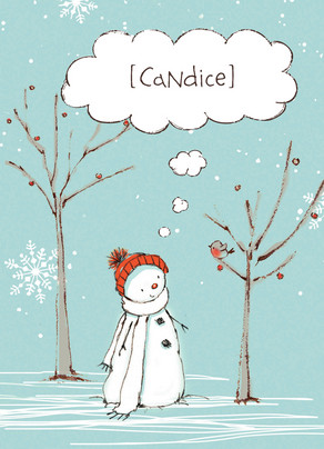 Thoughtful Snowman 5x7 Folded Card