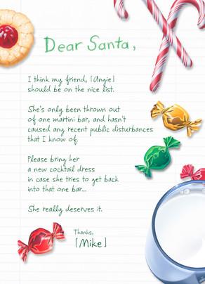 Funny Dear Santa 5x7 Folded Card