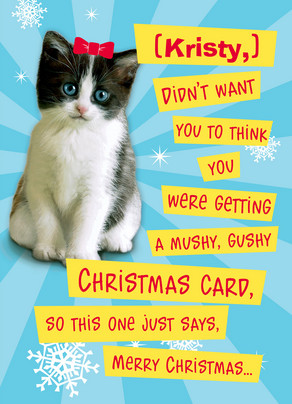 Funny Christmas Kitten 5x7 Folded Card