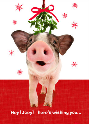 Funny Christmas Pig 5x7 Folded Card