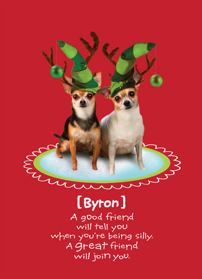funny christmas elf dogs 5x7 folded card - Funny Dog Christmas Cards