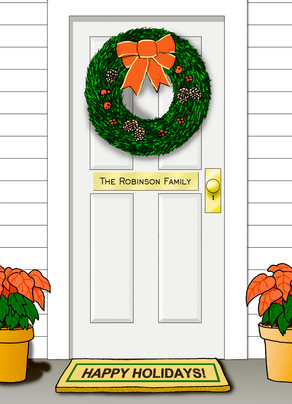 Christmas Wreath Door 5x7 Folded Card