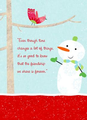 Holiday Snowman Friend 5x7 Folded Card