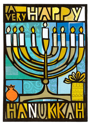 Modern Blue Menorah 5x7 Folded Card