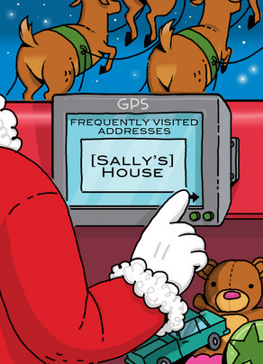 Santa GPS Address 5x7 Folded Card