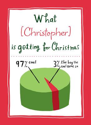 Coal Christmas Gift 5x7 Folded Card