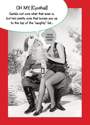 Santa Naughty List 5x7 Folded Card