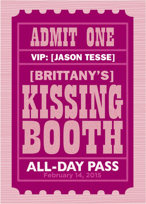 Kissing Booth Ticket 5x7 Folded Card