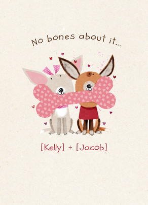 No Bones Valentines 5x7 Folded Card