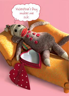 Sock Monkey Valentine 5x7 Folded Card
