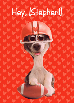 football valentine dog 5x7 folded card - Dog Valentines Day Cards