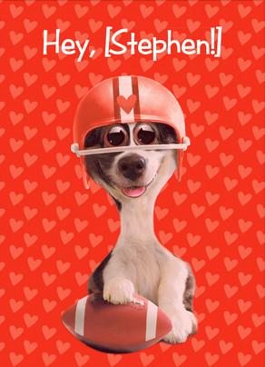Football Valentine Dog 5x7 Folded Card