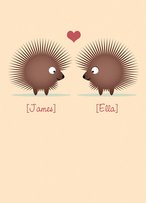 Porcupine Valentine Love 5x7 Folded Card