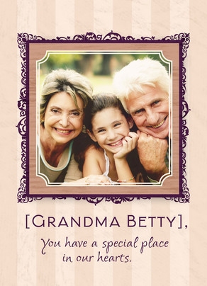 Purple Grandma Frame 5x7 Folded Card
