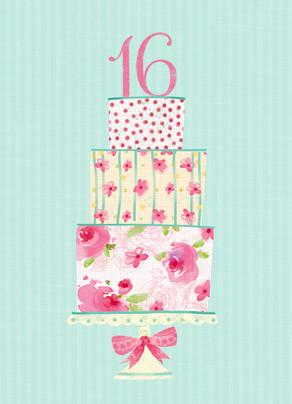 Pink Sixteen Cake 5x7 Folded Card