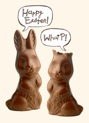 Deaf Chocolate Bunny 5x7 Folded Card