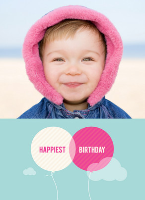 Happiest Birthday Balloons 5x7 Folded Card