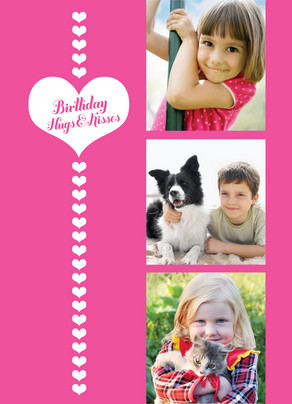 Birthday Hugs Kisses 5x7 Folded Card