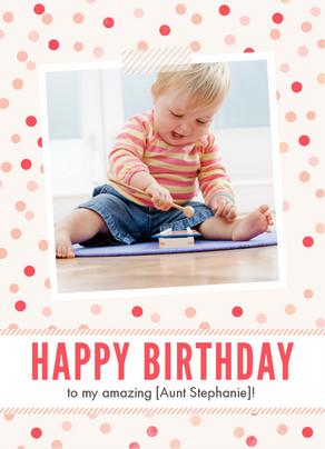 Pink Birthday Dots 5x7 Folded Card