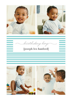 Birthday Boy Stripes 5x7 Folded Card