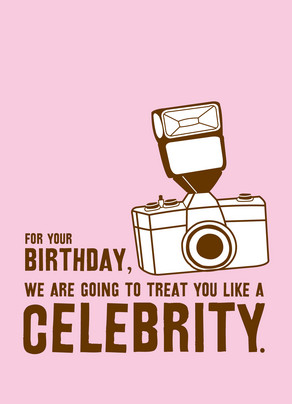 Pink Celebrity Birthday 5x7 Folded Card