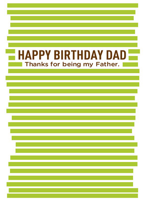 Thanks Dad Birthday 5x7 Folded Card