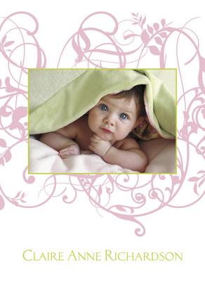 Pink Floral Vine 5x7 Folded Card