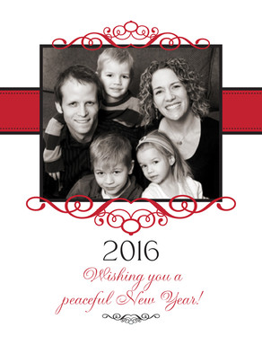 Red Frame Holiday 5x7 Folded Card