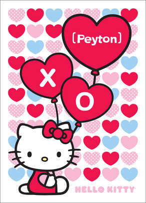 Heart Balloon Hello Kitty 5x7 Folded Card
