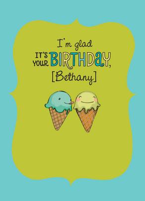 Ice Cream Love Birthday 5x7 Folded Card