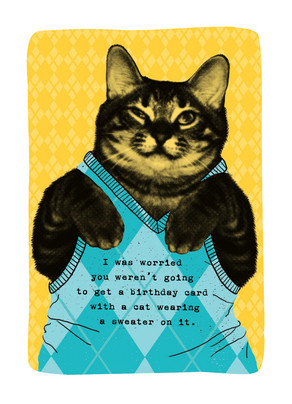Cat Sweater Birthday Happy Card